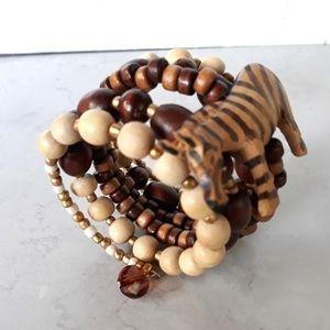 Zebra Wood Beads Memory Wire Wrap Bracelet